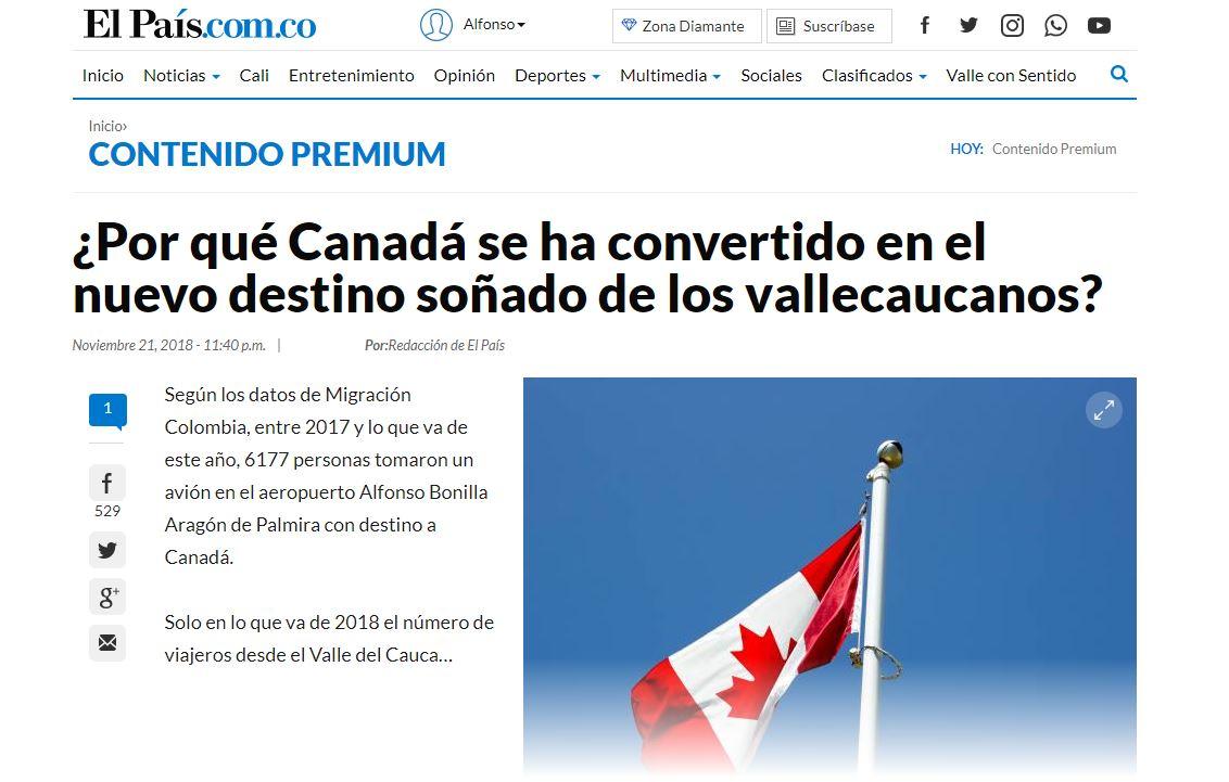 Artículo en el periódico El País, de Cali (Colombia)